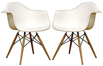 Amazon.com - Baxton Studio White Bucket Chairs w Wood Accent Legs ...