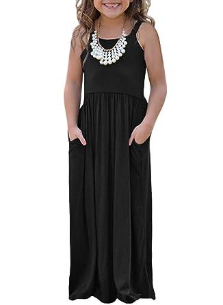 3a7bdcc91c Blibea Big Girls Summer Dresses Casual Sleeveless Crew Neck Boho Empire  Waist Maxi Tank Dress with