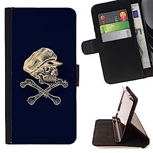 BullDog Case - FOR/HTC One M7 / - / SKULL CAPTAIN CROSSBONES BLUE WHITE /- Monedero de cuero de la PU Llevar cubierta de la caja con el ID Credit Card Slots Flip funda de cuer