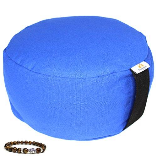 Zafu Yoga Meditation Bolster Pillow Cushion Filled with Buckwheat with FREE Brown Meditation Charm Bracelet