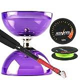 Juggle Dream Purple Cyclone Quartz 2 Diabolo w/ Carbon Fibre Diablo Sticks & Accelerate Diabolo String Set