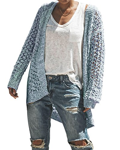 - FISACE Womens Hollow Out Open Front Cardigans Long Sleeve Knitted Sweater Jumper Light Blue