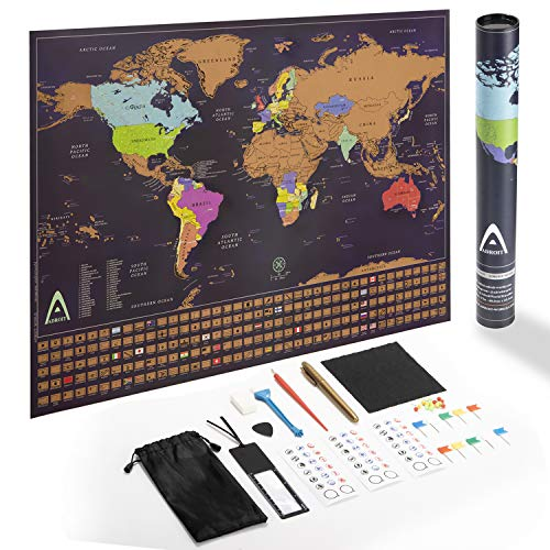Scratch Off World Map Poster - Best Tracking Map for Your Adventures, Best Travel Map with Flags and US States, Large World Map Wall Art, Best Gift for Travelers with Gift Tubing, by Adroit World
