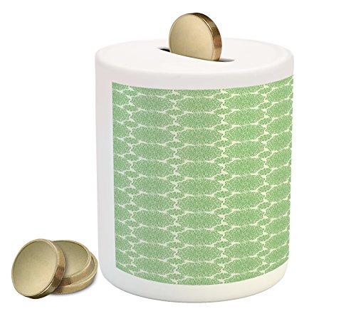 Cheap  Lunarable Green Oriental Piggy Bank, South Asian Abstract Radial Circular Flower Spinning..
