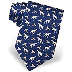 Corbata para hombre de 100% seda con diseño de pájaro y perro caza, Azul marino, Talla única