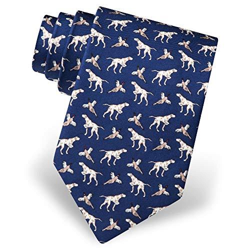 Men's 100% Silk Pheasant Bird & Hunting Dog Novelty Tie Necktie (Navy Blue)