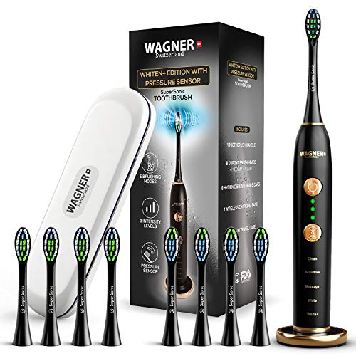 WAGNER Switzerland WHITEN+ EDITION. Smart electric toothbrush with PRESSURE SENSOR. 5 Brushing Modes and 3 INTENSITY Levels, 8 DuPont Bristles, Premium Travel Case, USB Wireless charging. (What's The Best Electric Toothbrush)