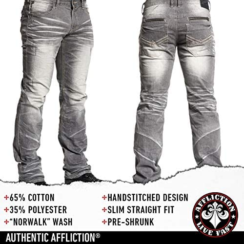 51f2V8YXPDL. AC Affliction Mens Jeans Slim Fit. Slim Straight Jeans for Men Bootcut Clothing Ripped Mens Jeans Straight Fit.    Affliction Ace Standard Norwalk Slim Straight Leg Denim Jeans For Men