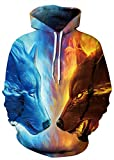 ice and fire - AMOMA Men Unisex Casual Halloween Christmas Series Pocket Hooded Hoodie Sweatshirt (Small/Medium, Ice Fire Wolf)