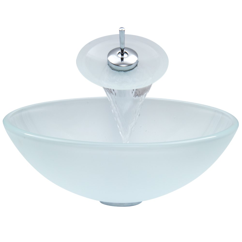 Charmant VIGO White Frost Glass Vessel Bathroom Sink And Waterfall Faucet With Pop  Up, Chrome     Amazon.com