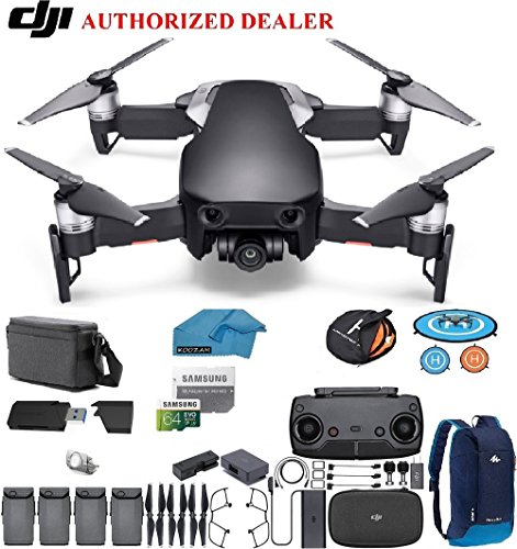 DJI Mavic Air Fly More Combo Drone - Quadcopter with 64gb SD Card - 4K Professional Camera Gimbal – 4 Battery Bundle - Kit - with Must Have Accessories (Onyx Black) (Equivalent Digital Camera Battery)