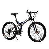 Ibiky 26 Inch Folding Full Suspension 21 Speed MTB Shimano Gear Mountain Bike Steel Frame Dual Disc Brake (Black Blue)