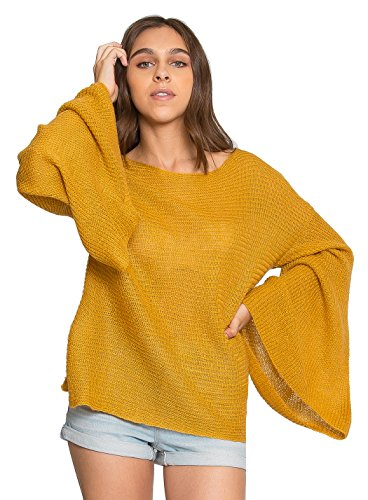 Wet Seal Rustic Flare Sleeve Sweater in Mustard - Yellow - (Bell Lightweight Sweater)