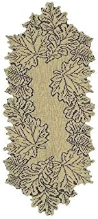 product image for Heritage Lace Leaf 14-Inch by 36-Inch Runner, Goldenrod