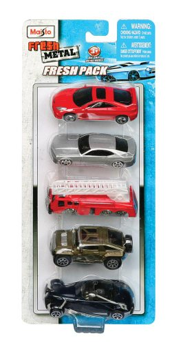 Diecast Cars in a Fresh Metal 5 Pack in a 1:64 Scale Manfactured by (Fresh Metal)