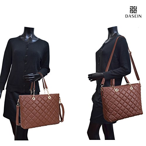 Dasein Women's Designer Quilted Tote Bag Shoudler Bag Satchel Handbag Large Purse with Strap