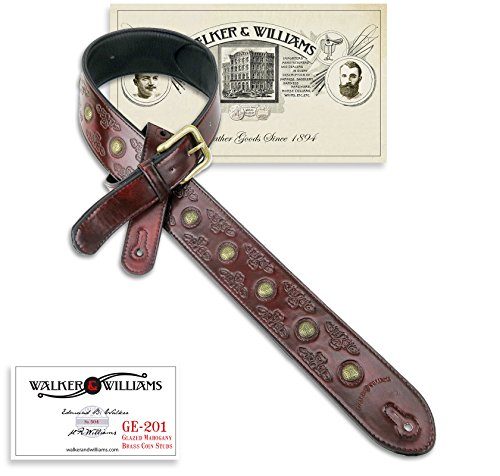 - Antique Mahogany Padded Leather Guitar Strap with Brass Coin Studs Walker & Williams GE-201