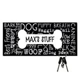 Personalized Bone Dog Word Collage Key and Leash Hanger