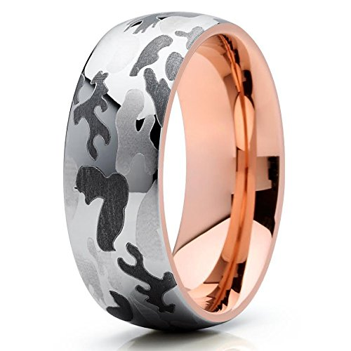 Silly Kings 8mm Camouflage Camo Tungsten Carbide Wedding Band Rose Gold Dome Army Navy Marines Ring 12
