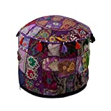 Indian Traditional Purple Ottoman Pouf Cover Yellow Decorative Foot Stool Covers Handmade Cotton Bohemian Pouf Ottomans Round Comfortable PatchWork Floor Cushion By Rajrang