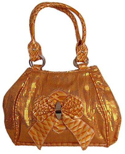 Stilvolle Damen Abendtasche,Handtasche Pailletten,30x24 cm, Orange