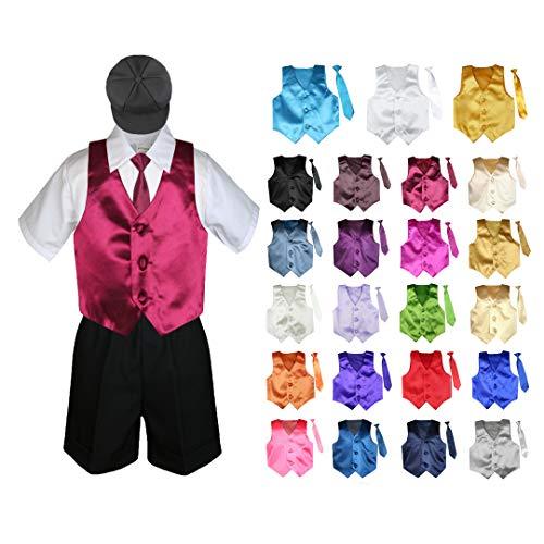 Cummerbund Lilac (5 Pieces Formal Wedding Color Satin Vest & Necktie Shirt W/Hat Black Shorts Set Baby Boy Toddler Sm-4T (4T, Lilac))