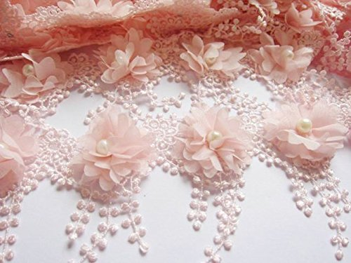 YYCRAFT Pack Of 5y Flower Chiffon Lace Edge Trim-Lt.Pink