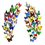 PARLAIM 104PCS Butterfly Wall Decals for Wall-3D Butterflies Wall Stickers Removable Mural Decals Home Decoration for Kids Nursery Bedroom Living Room Decor