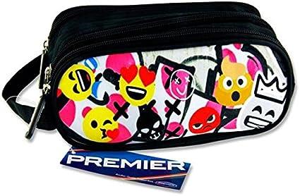 Premier Stationery C5616317 Emoji s Design Campus - Estuche ovalado con 3 bolsillos y cremallera: Amazon.es: Oficina y papelería
