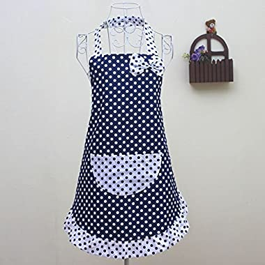 Women's Cute Blue Cotton Kitchen Restaurant Aprons Cooking Chef Waitress Apron