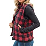 Rambling New Women's Casual Slim Fall Lightweight Plaid Down Vest Outdoor Puffer Quilted Vest Jacket with Zipper (LJH Red, L)
