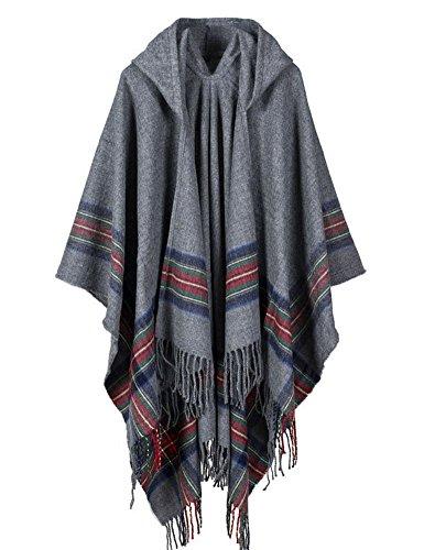 Eongers Women's Hooded Winter Cashmere Cloak Shawl Cardigans Sweater (Gray)