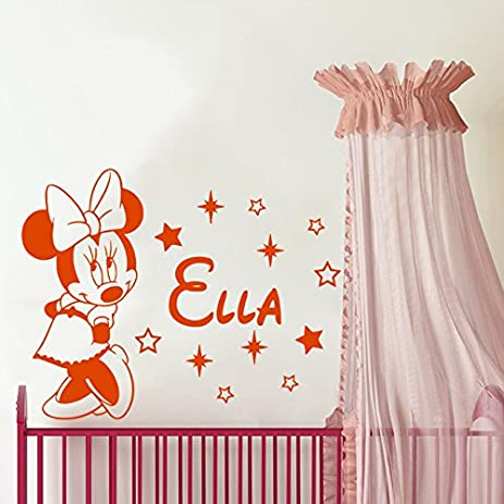 Wall Decals Custom Name Baby Minnie Mouse Personalized Name Nursery Kids  Boys Girls Disney Head Mice