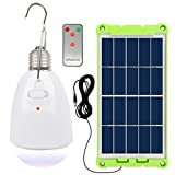 NINGZEXIN Solar Powered Light LED Bulb With Solar Panel Multi-functional Waterproof Rechargeable Remote Control Dimmable Hanging Lamp Tent Light Protable Lighting for Home, Camping, Emergency