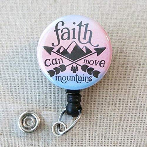 BIBLE VERSE Nursing Badge Reel, FAITH Can Move Mountains Matt 17:20 - Retractable ID Badge Reel With Swivel Pinch Clip, Religious Nurse Badge Holder, Encouraging Christian Scripture Quotes Badge Reel