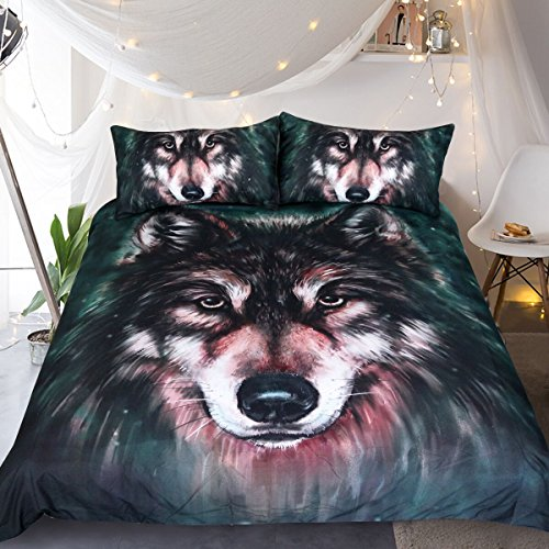 Sleepwish 3D Wolf Bedding Wolf Duvet Cover Set Oil Painting Bedding Sets for wolf lover Queen Size