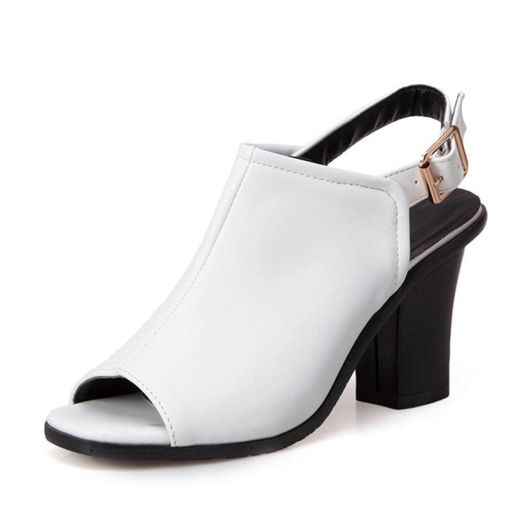 White MEIZOKEN Women's Chunky Heel Ankle Strap Sandals Retro Peep Toe Slingback High Heel Party Pump Sandal