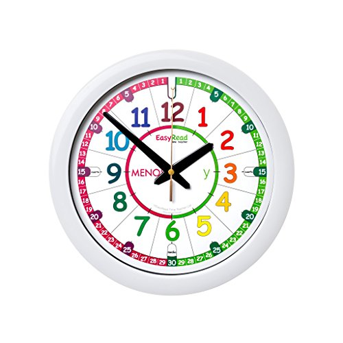 EasyRead Time Teacher Spanish Children's Wall Clock: with simple 3-step teaching system. 12 inch dia, learn to tell the time in Spanish, ages 5-12 by EasyRead Time Teacher