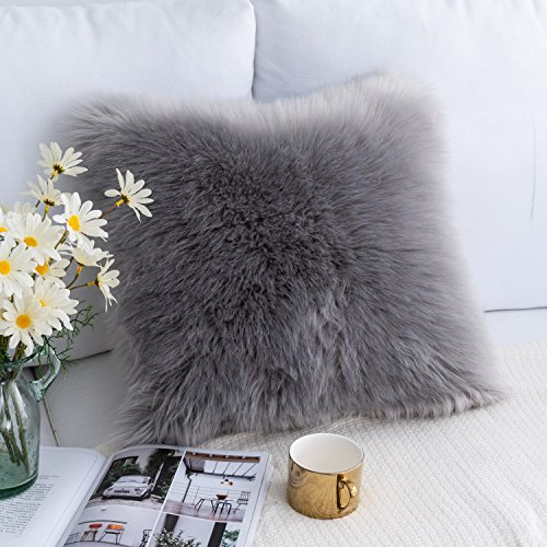 Foindtower Mongolian Plush Faux Fur Square Decorative Throw Pillow Case Cushion Cover New Luxury Series Merino Style for Livingroom Couch Sofa Nursery Bed Home Decor 18x18 Inch (45x45cm) Grey