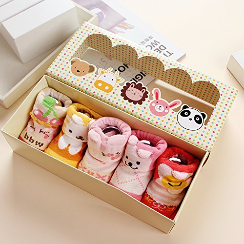 Dicry 5 Pairs Soft Non-slip Skid Unisex Baby Socks 3D Ears Newborn Toddler Gift (0-6 Months, F-Pairs of 5)