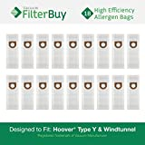18 Hoover Windtunnel Upright Type Y Vacuum Bags. Designed by FilterBuy to Replace Hoover Part #s 4010100Y, 4010801Y & 43655082