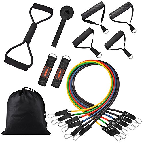 Cheap OneTwoFit Resistance Band Set Include Stackable Exercise Bands for Resistance Training Home Workouts with Door Anchor Ankle Strap Carry Bag OT071