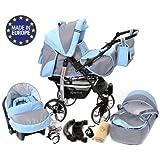 Baby Sportive X2, 3 in 1 Kombikinderwagen set - incl. Kinderwagen mit Zubehör, Babyschale und Sportwagen Aufsatz. System mit Schwenkräder. Reisesystem Farbe: Asche und Blau