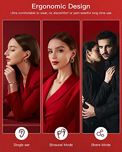 Wireless Earphones, ISENPENK Bluetooth Headphone in Ear with CVC8.0 Noise Cancelling Microphone, True Wireless Earbuds with Volume Touch Control 3D HIFI Stereo 35H Type-C Leather Charging Case - Red