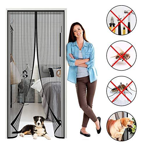 MODKOY Magnetic Screen Door 66x82inch, Black Heavy Sliding Door net, Magnetic adsorption Foldable Easy to Install, for Living Room/Patio - 66 Door Outside