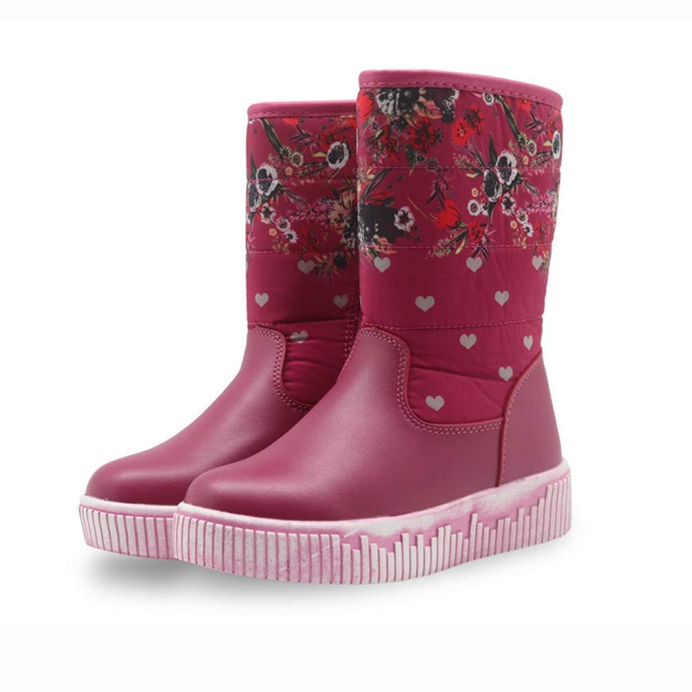 Botas para niñas Botas Impermeables para niños Botas de Nieve de Media Pierna Calientes de Lana de Felpa Zapatos de Invierno de niños con Flores para niñas: ...