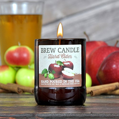 Beer Hard Cider - HARD CIDER Brew Candle - Hand Poured in USA (Soy Wax) - Great Gift For Hard Cider Lovers - For the Brewery, Home, or Orchard (made from recycled beer bottles)
