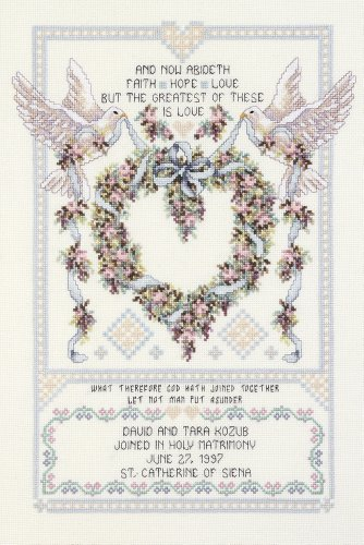Janlynn Cross Stitch Kit, 17-Inch by 12-Inch, Wedding Doves