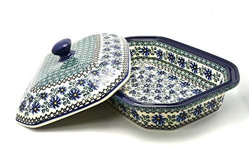 Polish-Pottery-Baker-Rectangular-Covered-Blue-Chicory