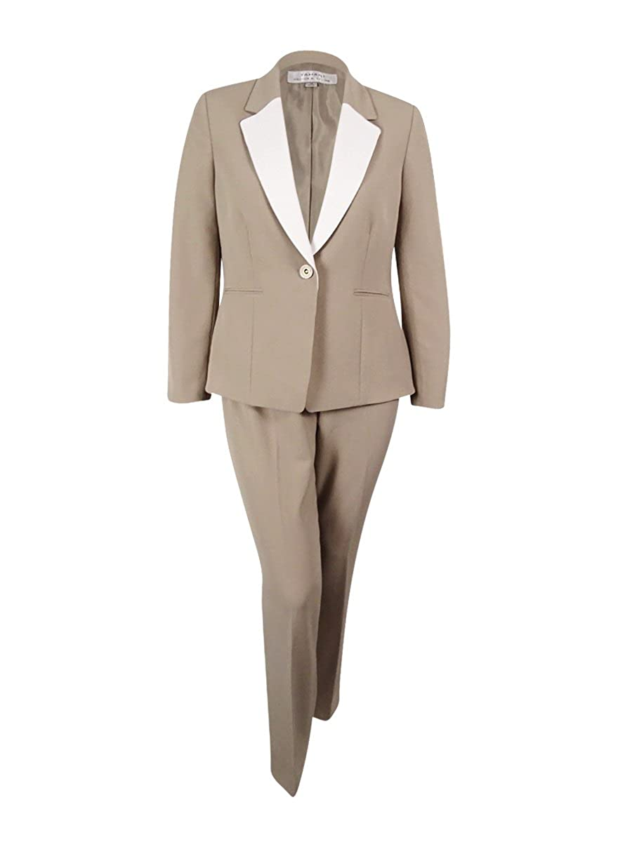 Tahari ASL Womens Petite Colorblocked Pantsuit 10P, Beige//White